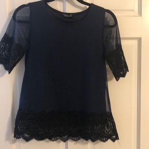 Beautiful navy and black lace top